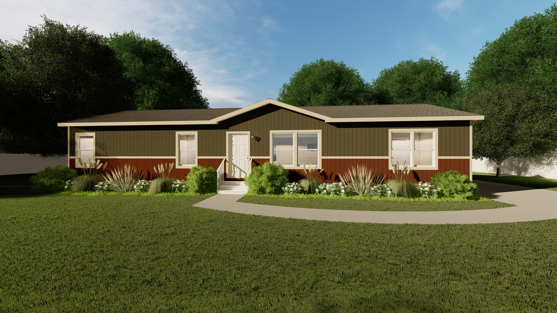 The THE DAYTONA 28 Exterior. This Manufactured Mobile Home features 4 bedrooms and 2 baths.