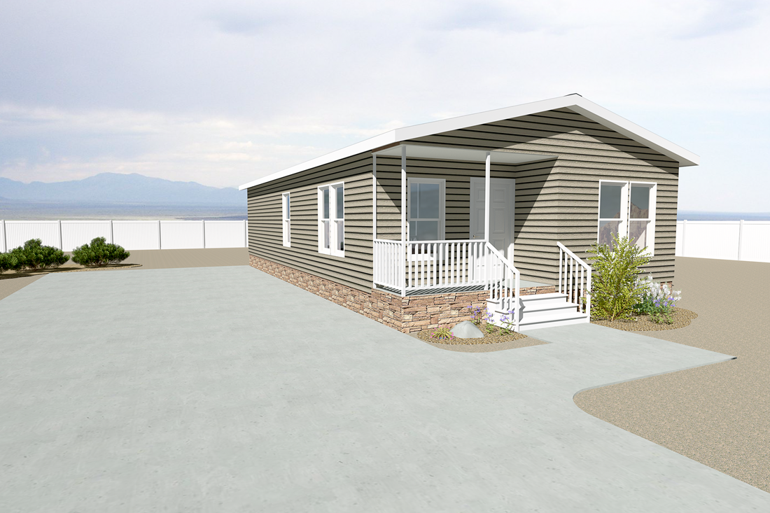 The THE PALMER 28 HUD Exterior. This Manufactured Mobile Home features 2 bedrooms and 2 baths.