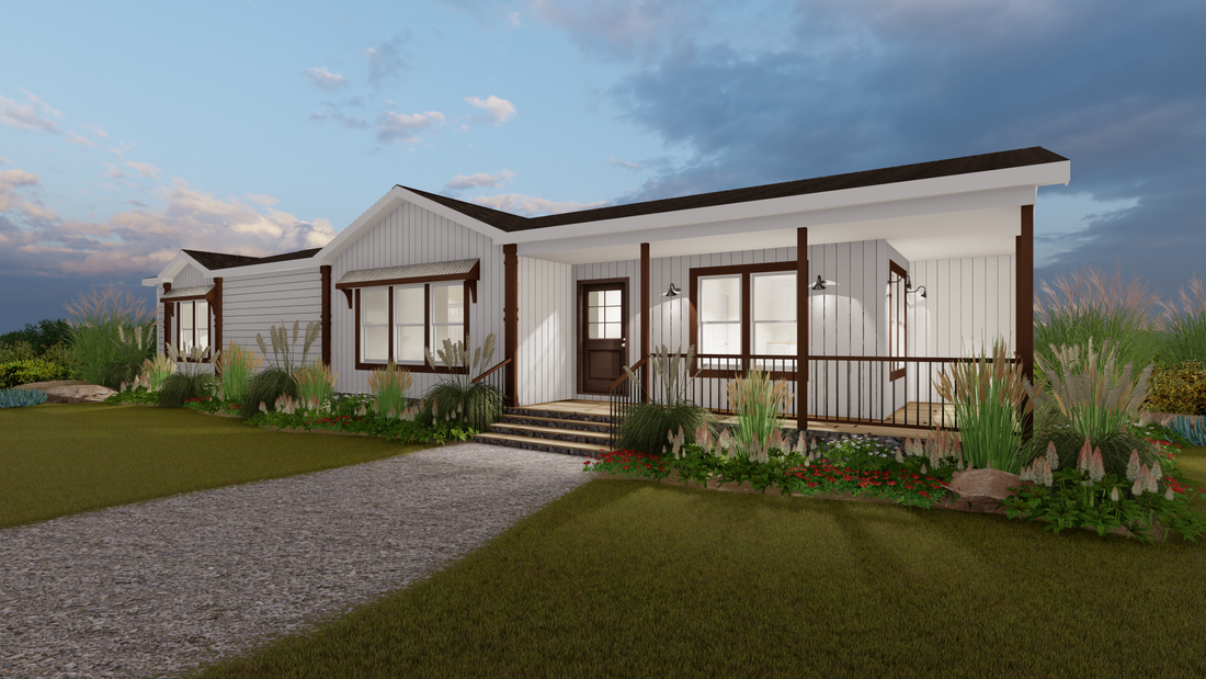 The THE DAISY-MAE Exterior. This Manufactured Mobile Home features 3 bedrooms and 2 baths.