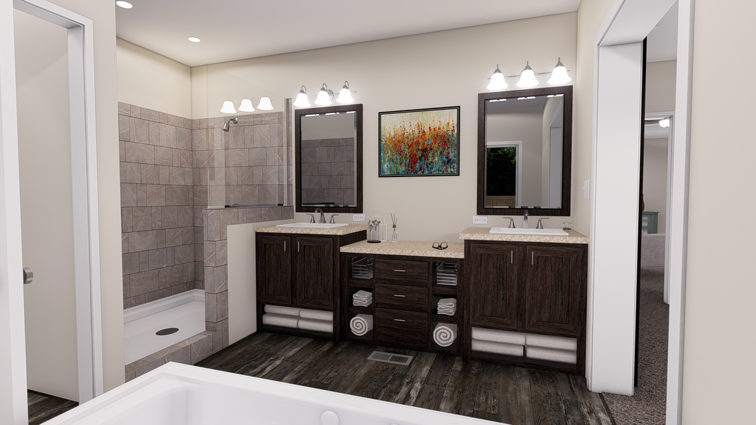 The ANNIVERSARY 3.0 Master Bathroom. This Manufactured Mobile Home features 3 bedrooms and 2 baths.