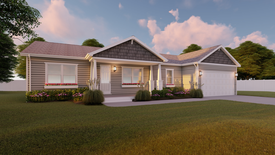 The THE ASHTON Exterior. This Manufactured Mobile Home features 3 bedrooms and 2 baths.