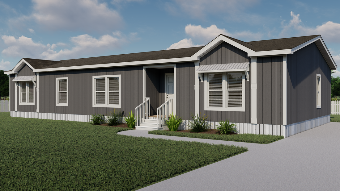 The THE ATLANTA-2 Exterior. This Manufactured Mobile Home features 3 bedrooms and 2 baths.