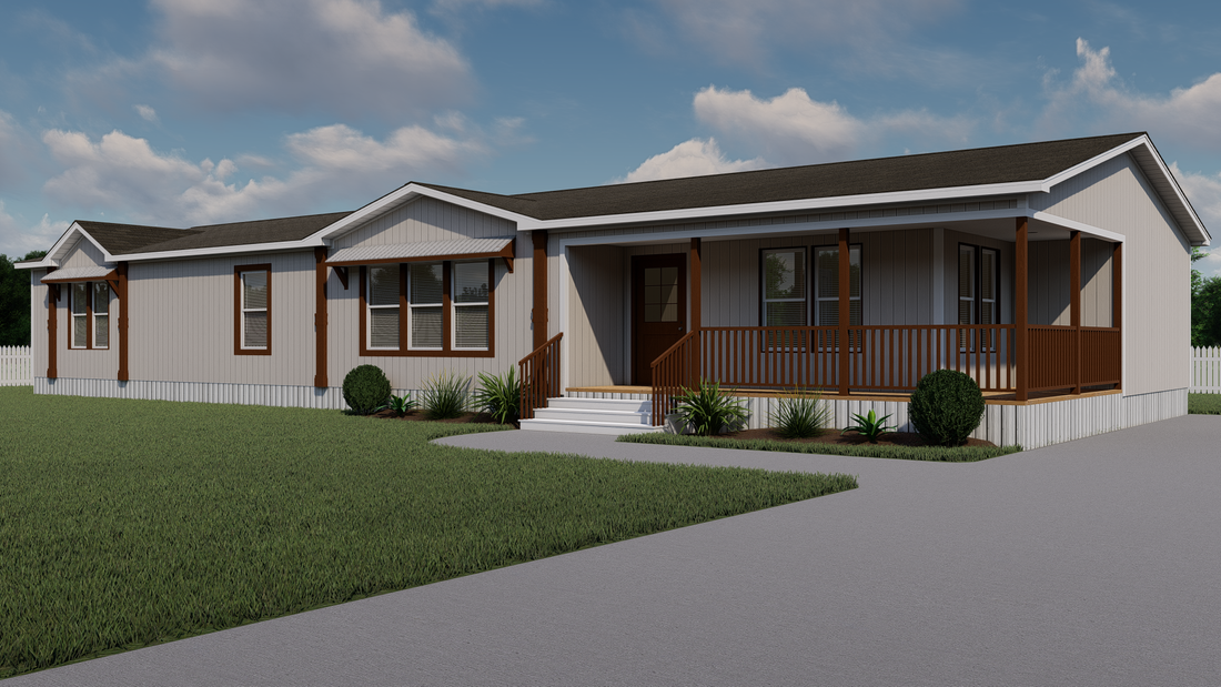 The THE DIXIE-MAE Exterior. This Manufactured Mobile Home features 4 bedrooms and 3 baths.