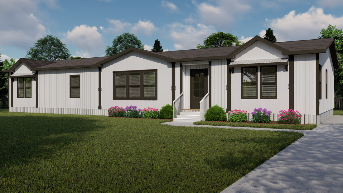 The THE BRAZOS Exterior. This Manufactured Mobile Home features 3 bedrooms and 2.5 baths.