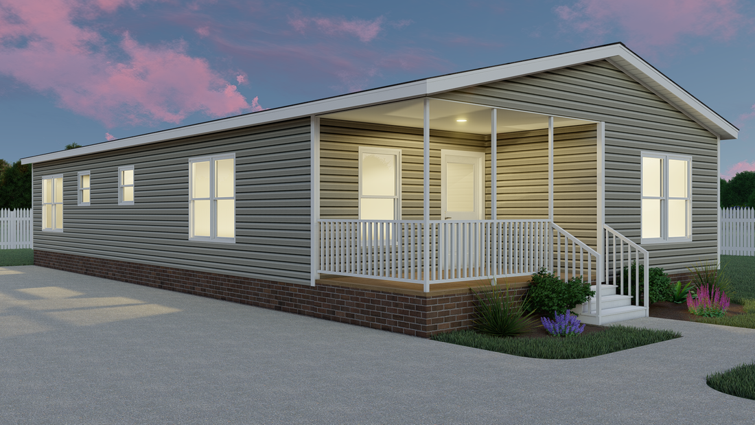 The THE PLAYER 32 Exterior. This Manufactured Mobile Home features 3 bedrooms and 2 baths.