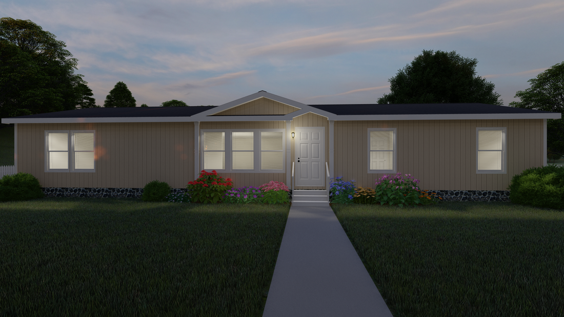 The THE AMAZON Exterior. This Manufactured Mobile Home features 3 bedrooms and 2 baths.