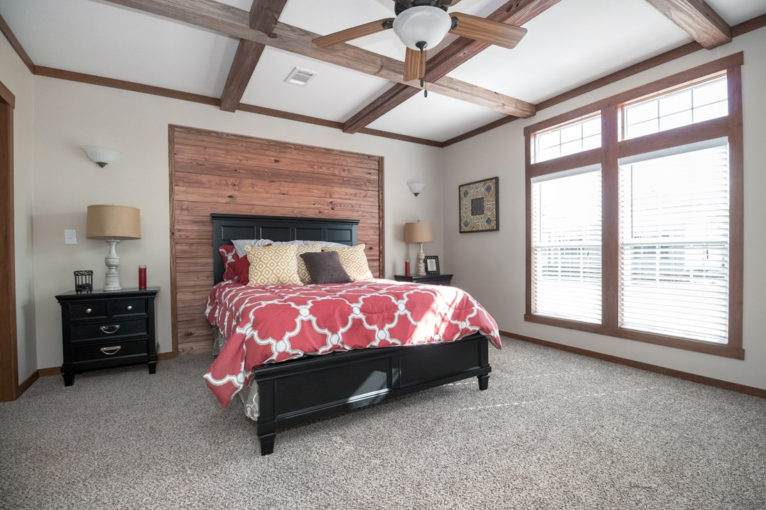 The THE OHIO Master Bedroom. This Manufactured Mobile Home features 4 bedrooms and 2 baths.