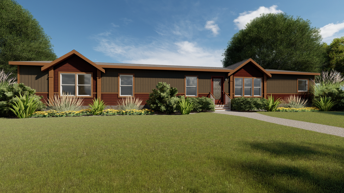 The THE YUKON Exterior. This Manufactured Mobile Home features 4 bedrooms and 3 baths.