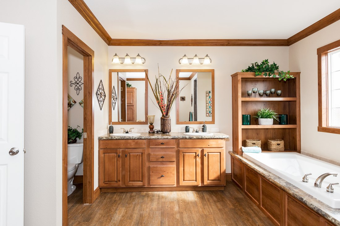 The INS521M MADRONA (FULL) Master Bathroom. This Manufactured Mobile Home features 2 bedrooms and 2 baths.