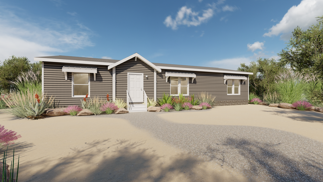 The THE STRETCH HOUSTON 28 Exterior. This Manufactured Mobile Home features 3 bedrooms and 2 baths.