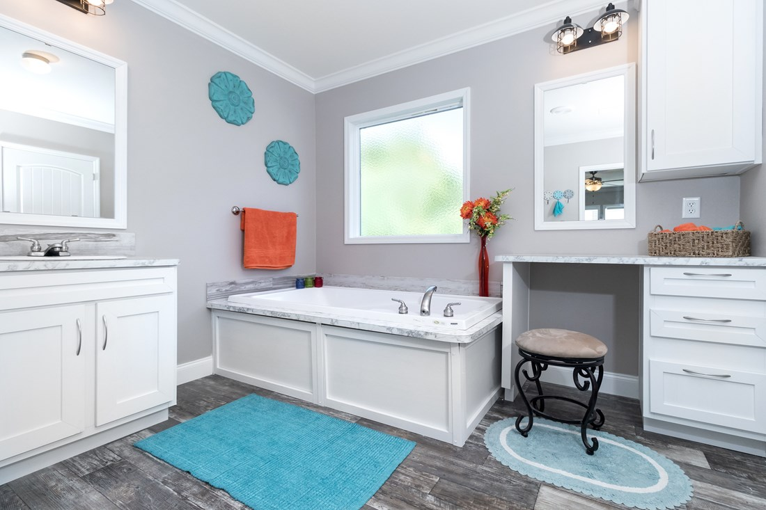 The THE TALLAHASSEE Master Bathroom. This Manufactured Mobile Home features 3 bedrooms and 2 baths.