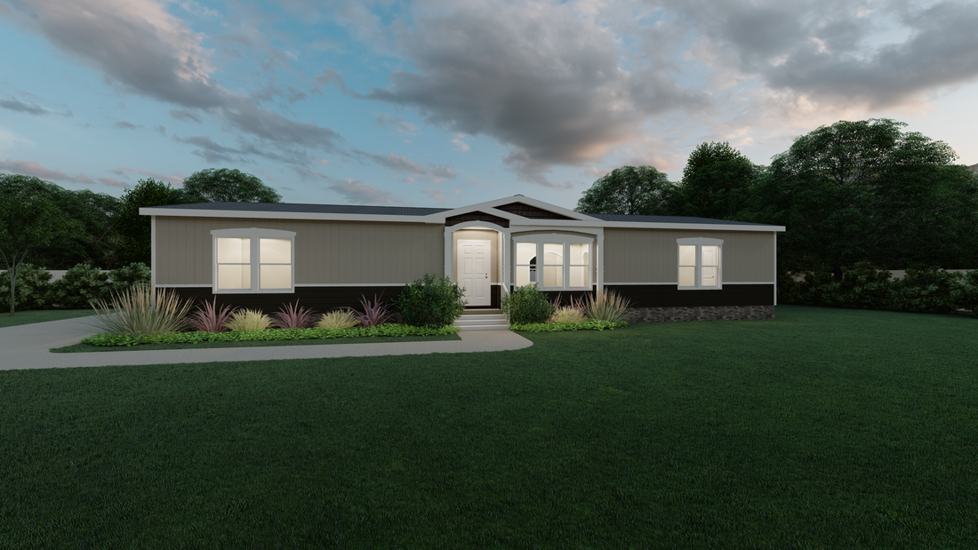 The THE TALLAHASSEE Exterior. This Manufactured Mobile Home features 3 bedrooms and 2 baths.